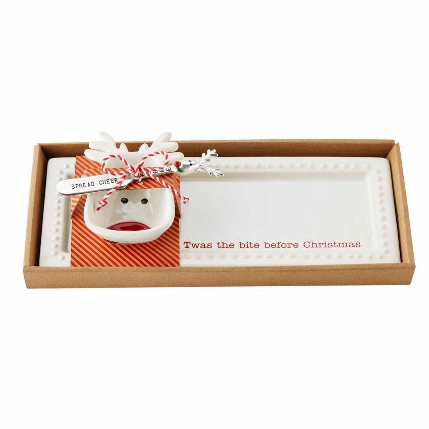3pc Tray & Reindeer Bowl Set