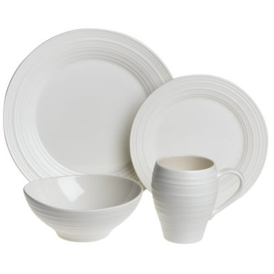 Mikasa Dinnerware Swirl White 4pc Place Setting