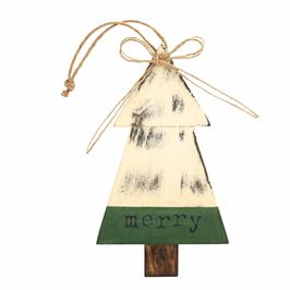 Merry Wood Tree Ornament