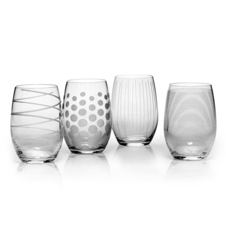 Cheers Stemless Wine Glasses 17oz Set of 4