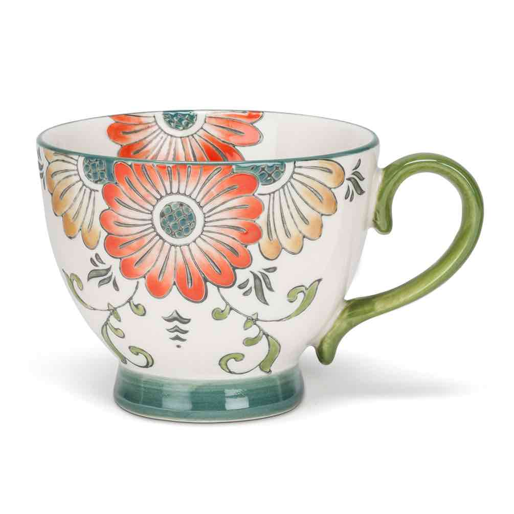 Floral Handled Cup | Orange