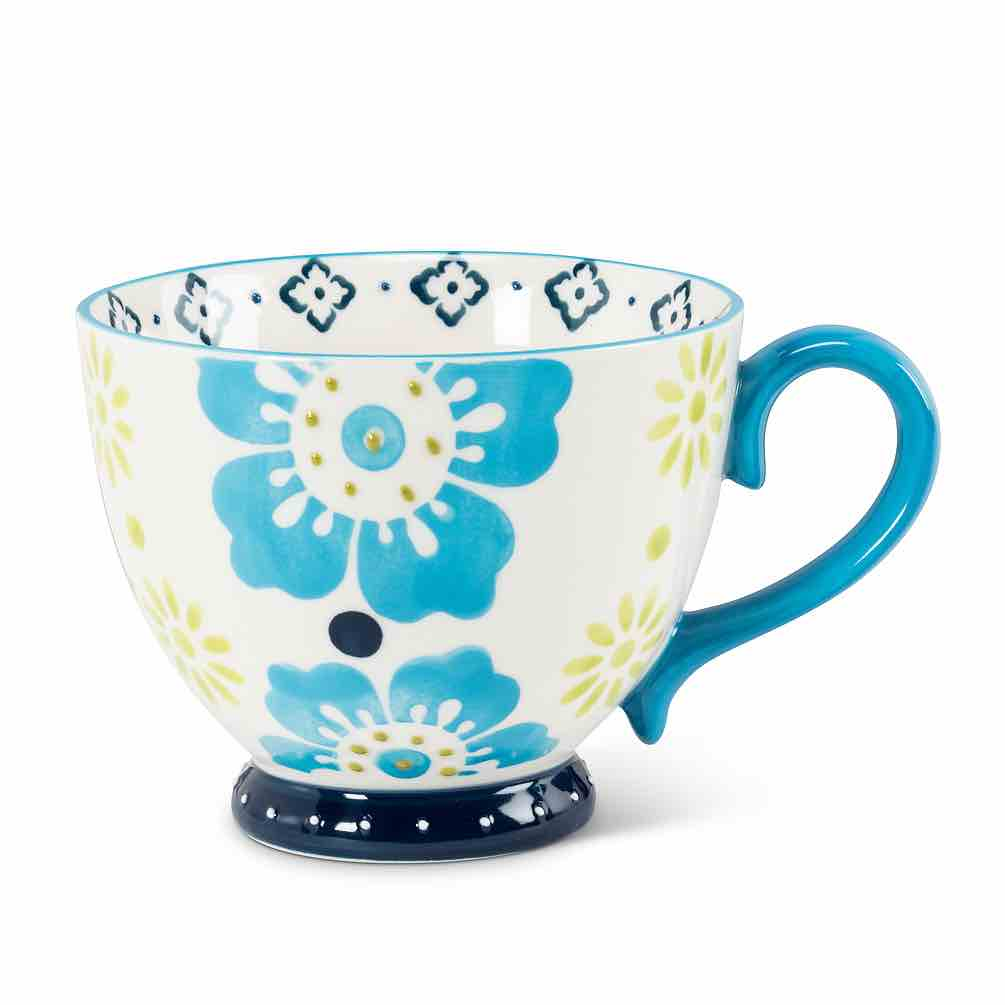 Floral Handled Cup | Blue