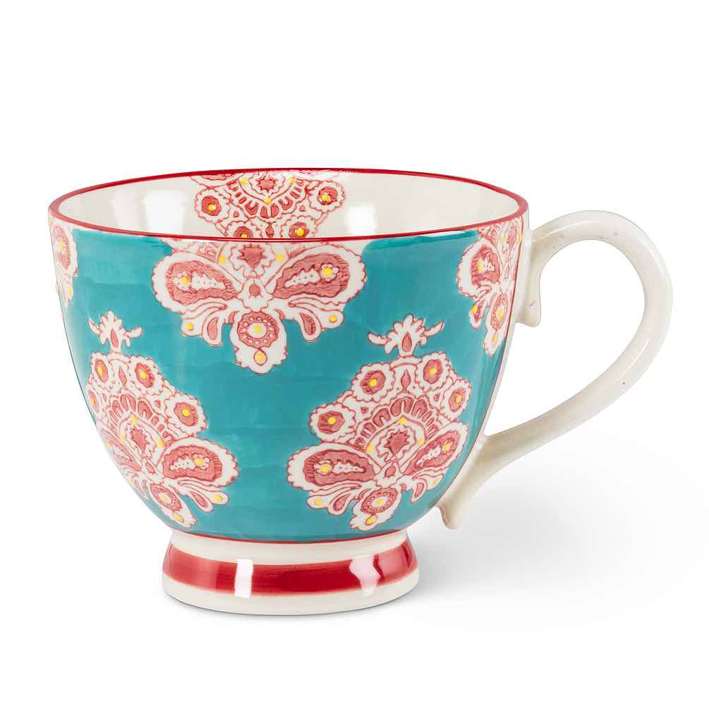 Floral Handled Cup | Damask