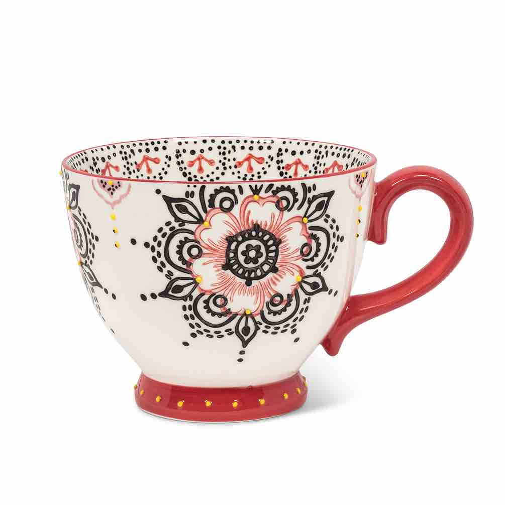 Floral Handled Cup | Coral