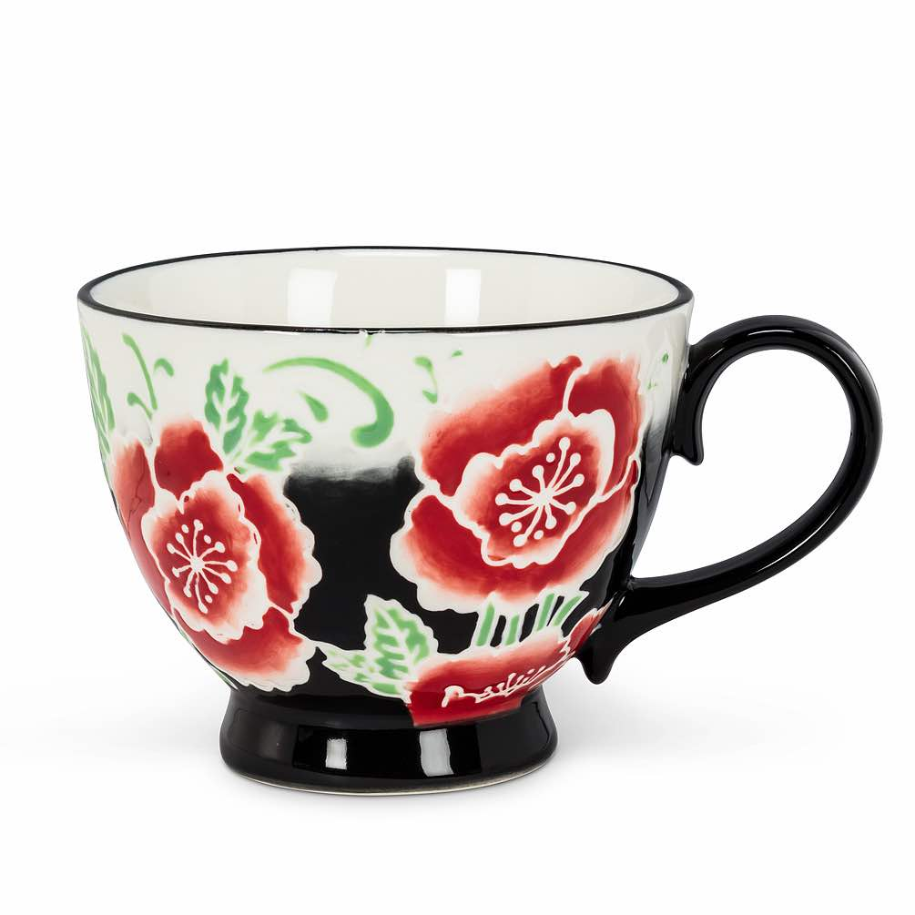 Floral Handled Cup | Red Peony