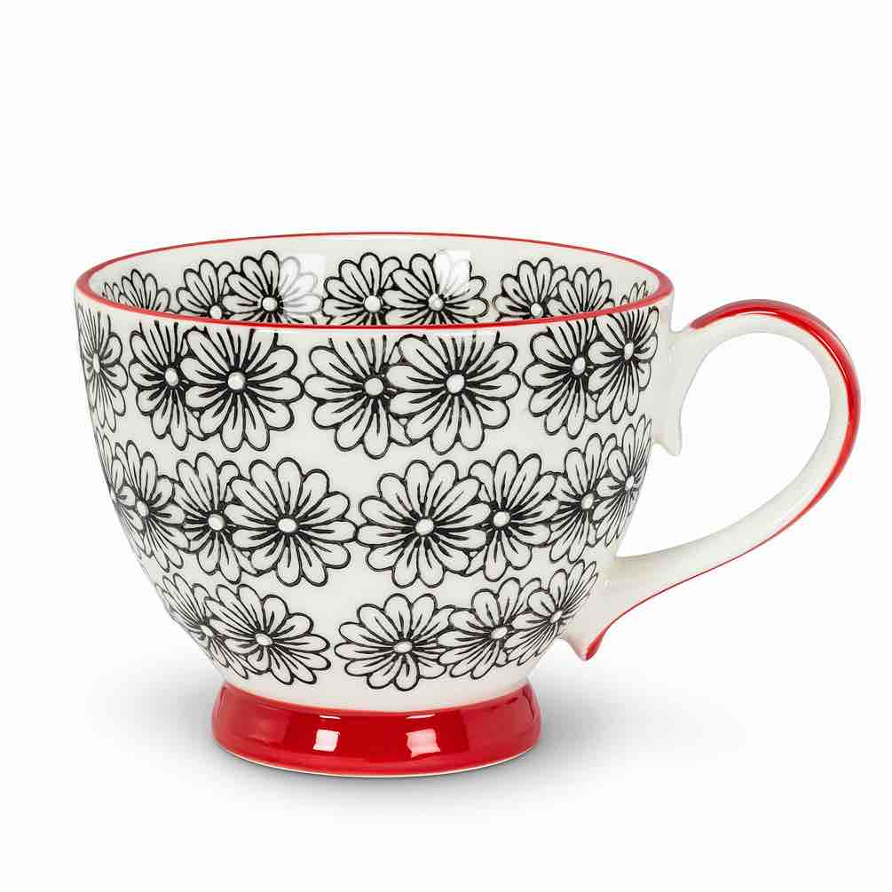 Floral Handled Cup | Black Daisy