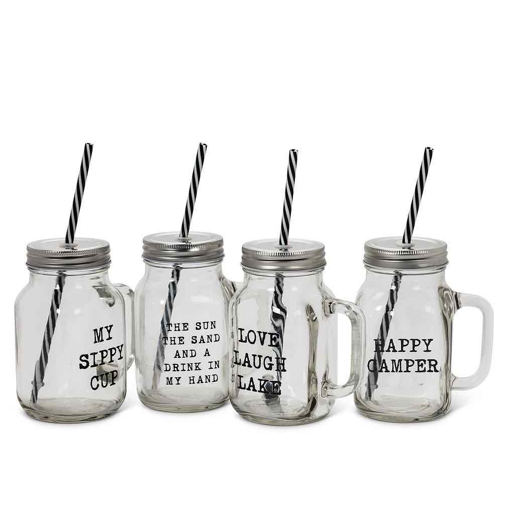 Mason Jar Glass Mug with Lid & Straw | Lake Theme