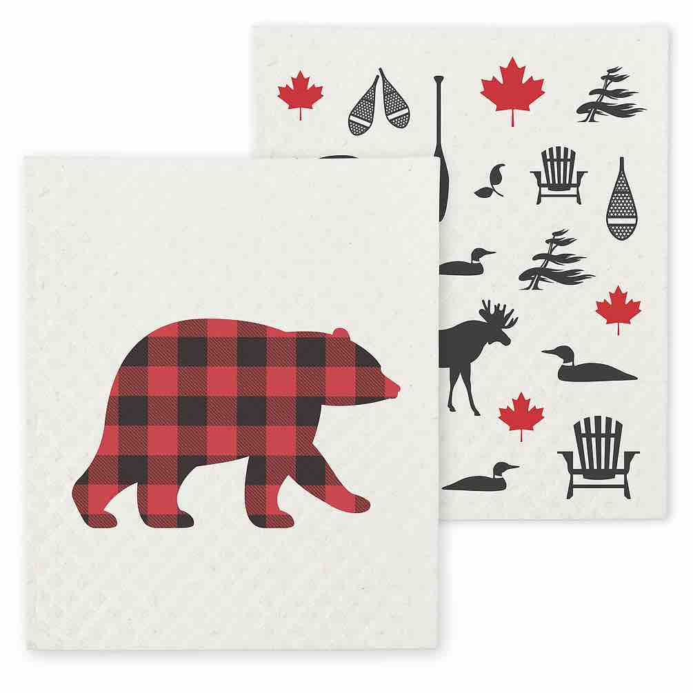 Bear & Cdn Icon Swedish Dishcloths | Set of 2