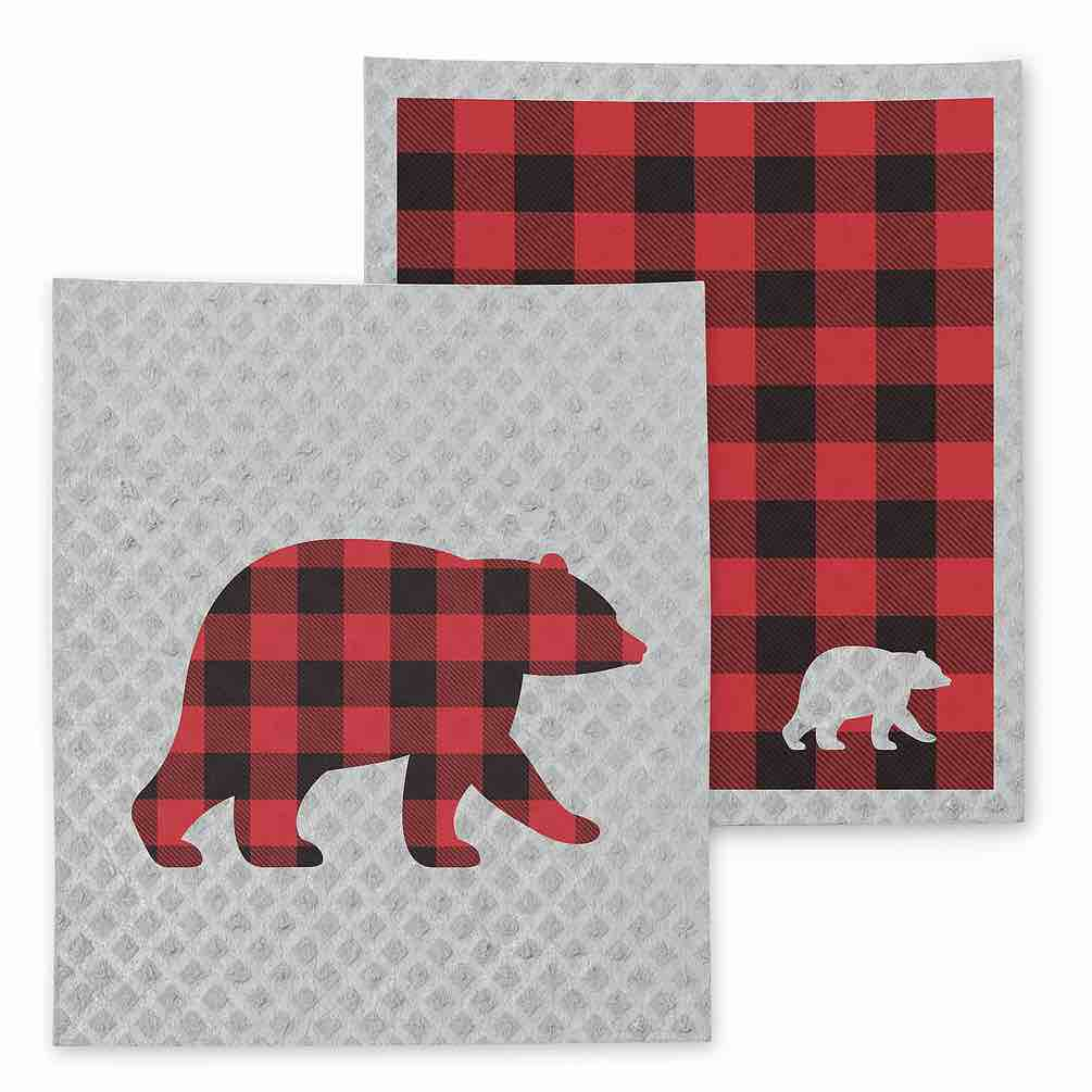 Bear & Check Swedish Dishcloths | Set of 2