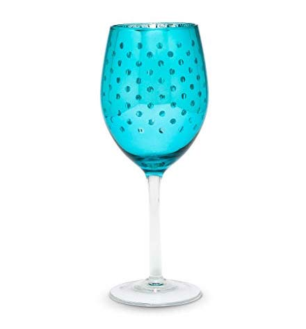Shiny Dot Wine Glass | Turquoise