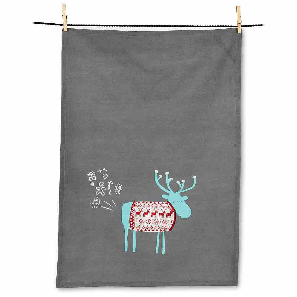 Farty Moose Tea Towel | Light Grey
