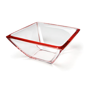 Square Bowl Red 23 cm
