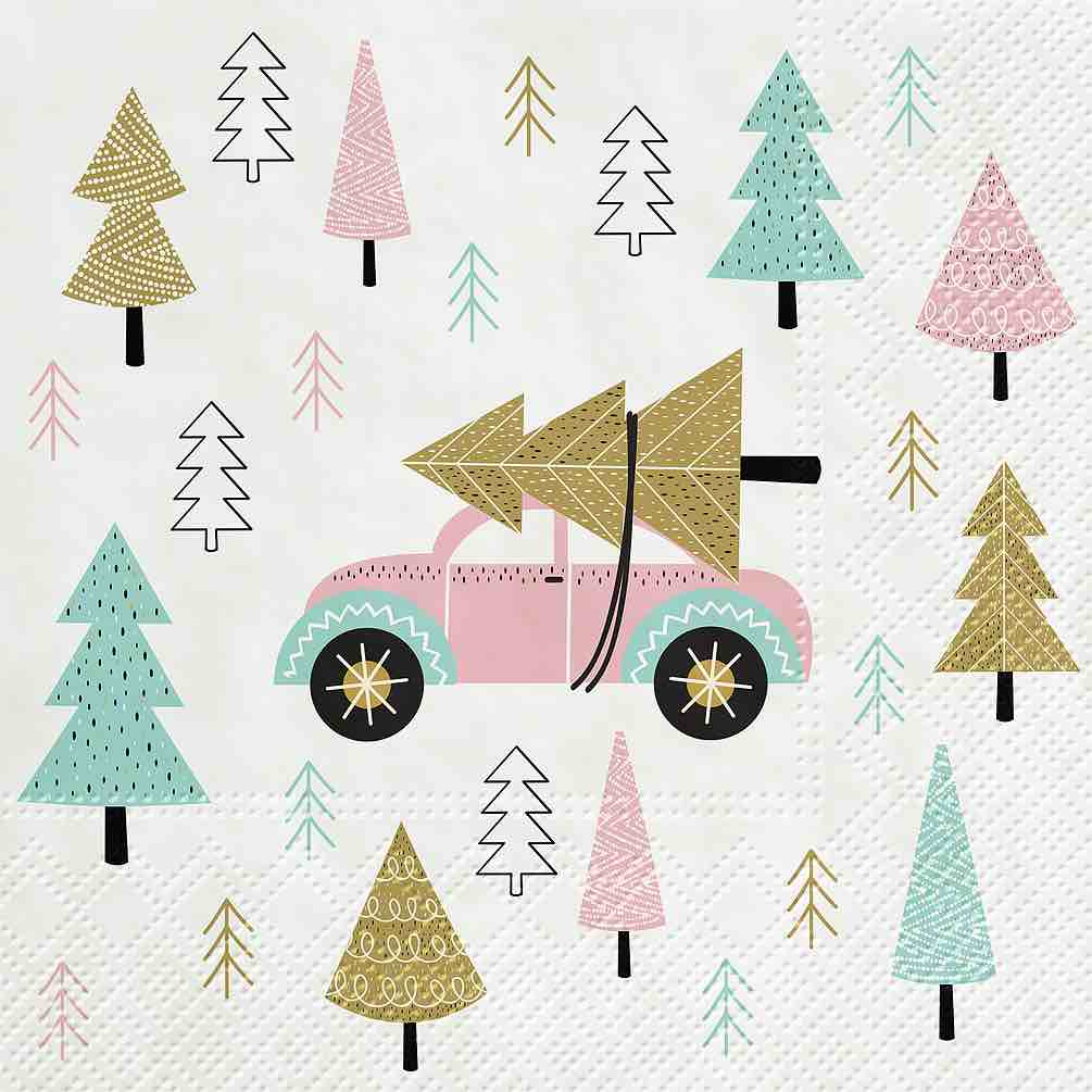 Christmas Napkins | Luncheon 20pk | Pink Car