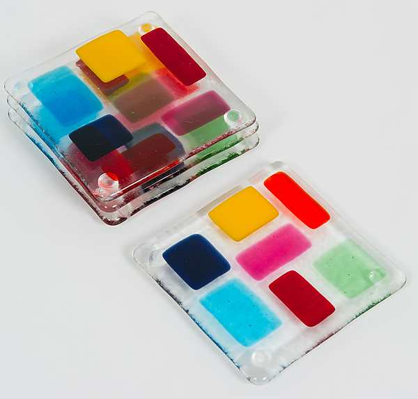 Bonnie Doone Glass Mosaic Fused Glass Coasters - Set of 4