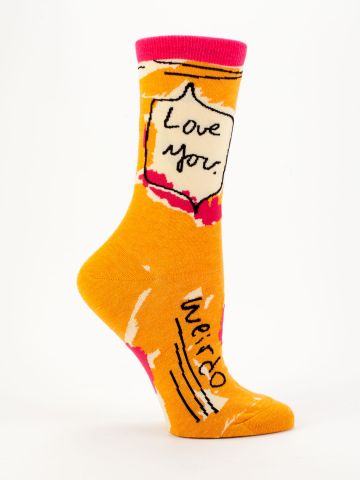 Blue Q Women's Crew Socks | Love You Weirdo