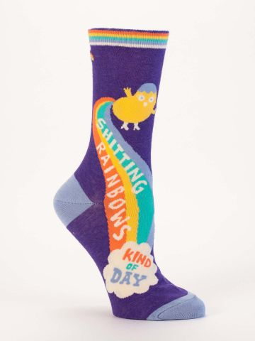 Blue Q Women's Crew Socks | Rainbows Kind of Day