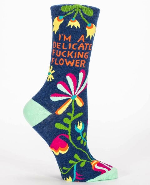 Blue Q Women's Crew Socks | Delicate Flower