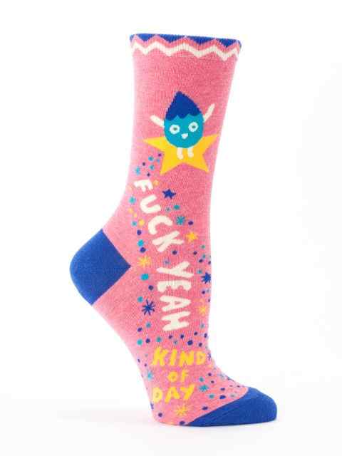 Blue Q Women's Crew Socks | F Yeah Kind of Day
