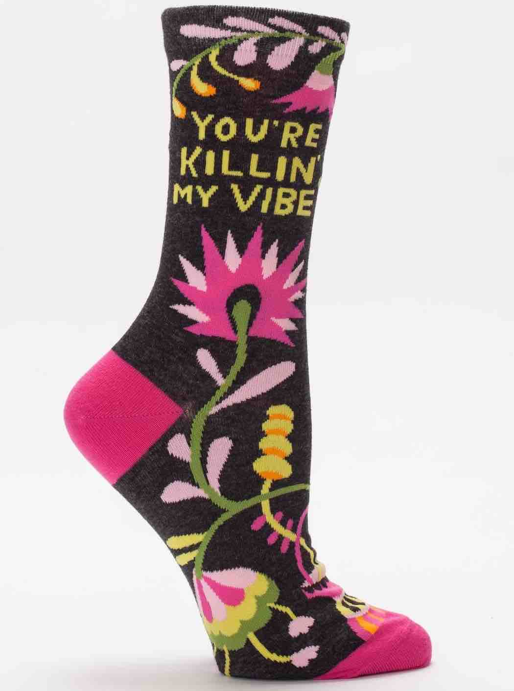 Blue Q Women's Crew Socks | Killing My Vibe