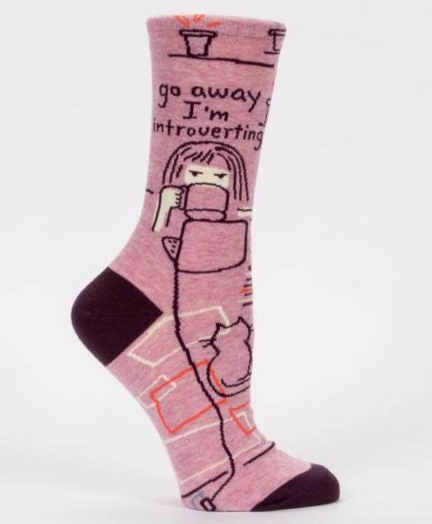 Blue Q Women's Crew Socks | Go Away I'm Introverted