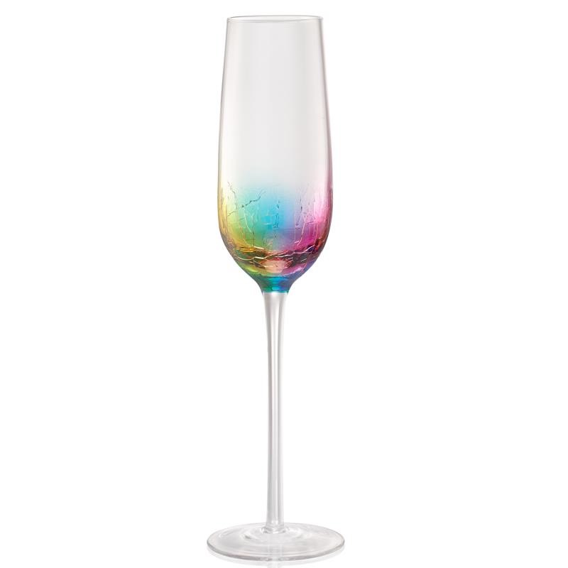 Crackle Flute Champagne Glass