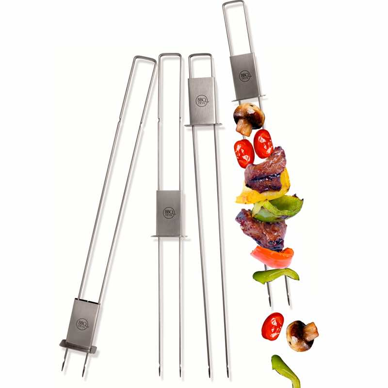 BBQ DEVIL Double Skewers | Set of 4