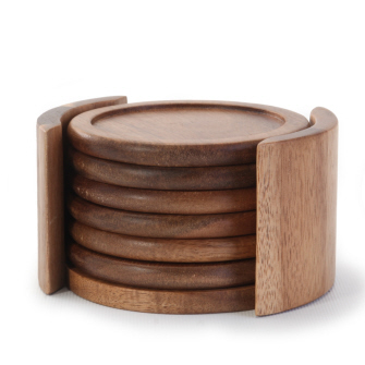 Acacia Coasters with Holder