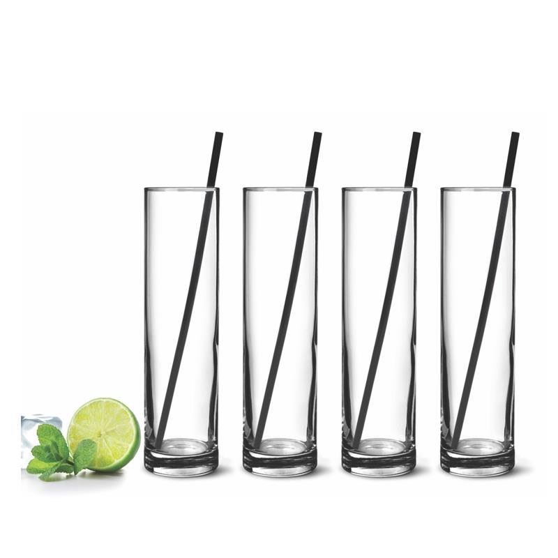 Mojito Glasses with Steel Straws | Set of 4