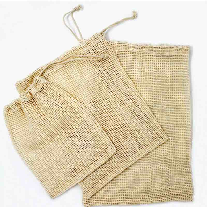 Cotton Mesh Produce Bags | Set of 3