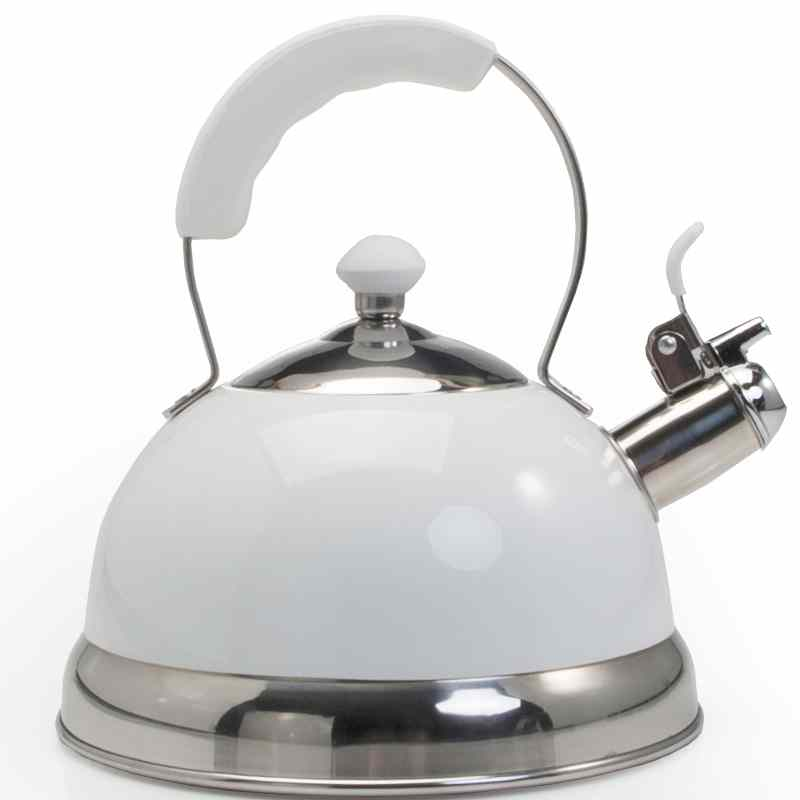 Ch'a Zenia Whistling Tea Kettle | White