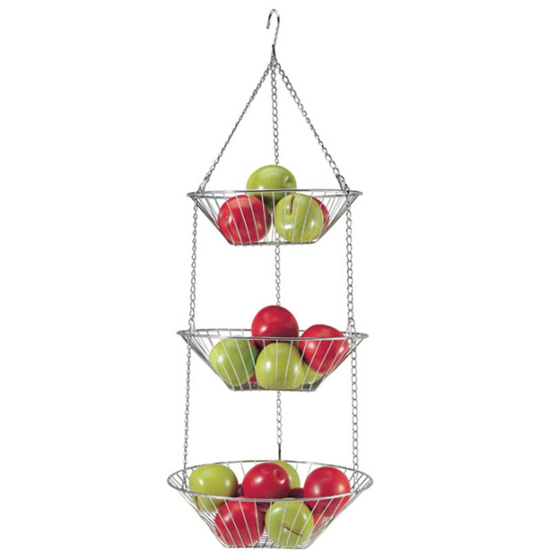 3-Tier Hanging Fruit Basket | Fruit Bowl | Chrome