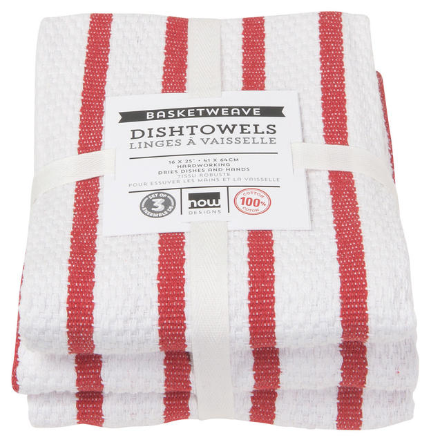 Basketweave Dishtowels | Set of 3 | Red