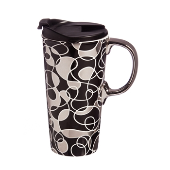 Metallic Scribble Ceramic Travel Mug
