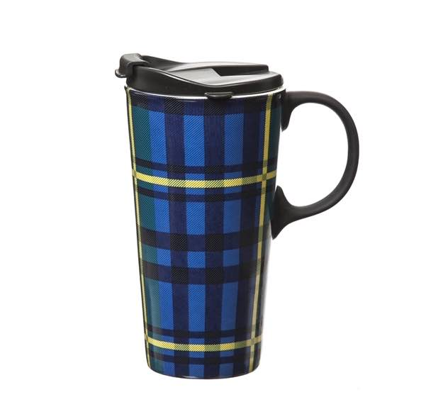 Plaid Ceramic Travel Mug