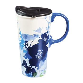 Bella Blue Ceramic Travel Mug
