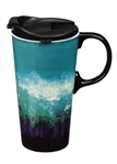Abstract Blue Ceramic Travel Mug