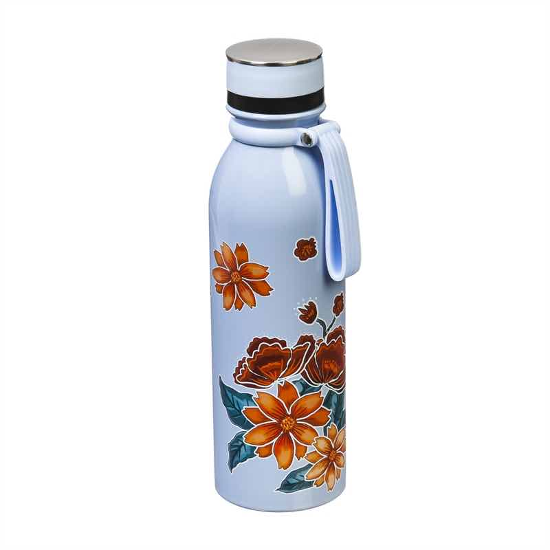 Insulated Steel Water Bottle | Refresh Floral Garden Light Blue