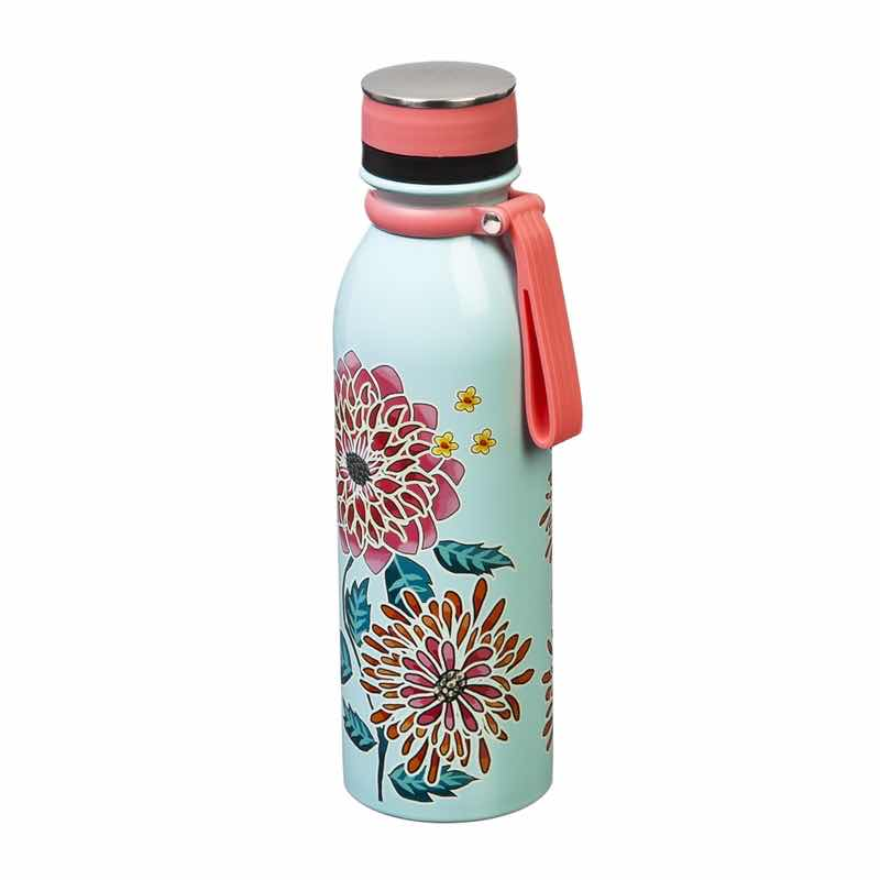 Insulated Steel Water Bottle | Refresh Floral Garden Mint Teal