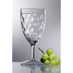 Diamond Cut Acrylic Wine Glass | 14oz