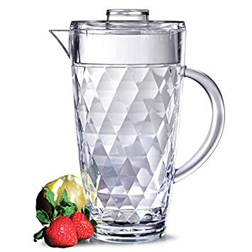 Diamond Cut Acrylic Pitcher with Lid | 70oz