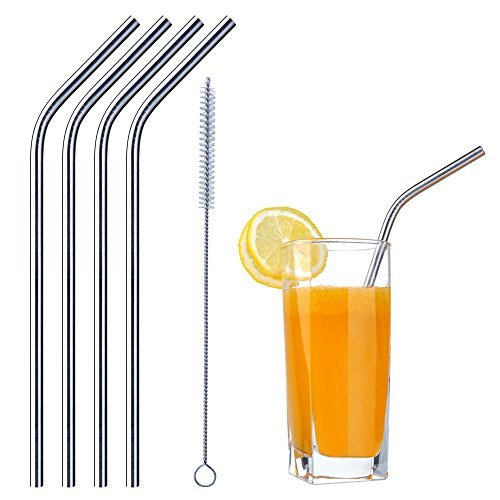 Stainless Steel Bent Reusable Straws | Set of 4 plus Cleanin