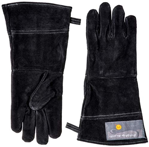 "Grill Gloves | 15"" Leather BBQ Mitts 