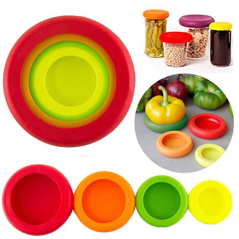 Food Huggers Reusable Silicone Food Savers | Set of 4