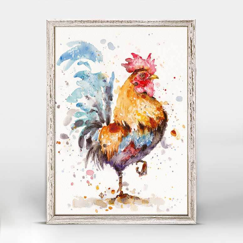 Framed Canvas | Roosters About by Sillier Than Sally