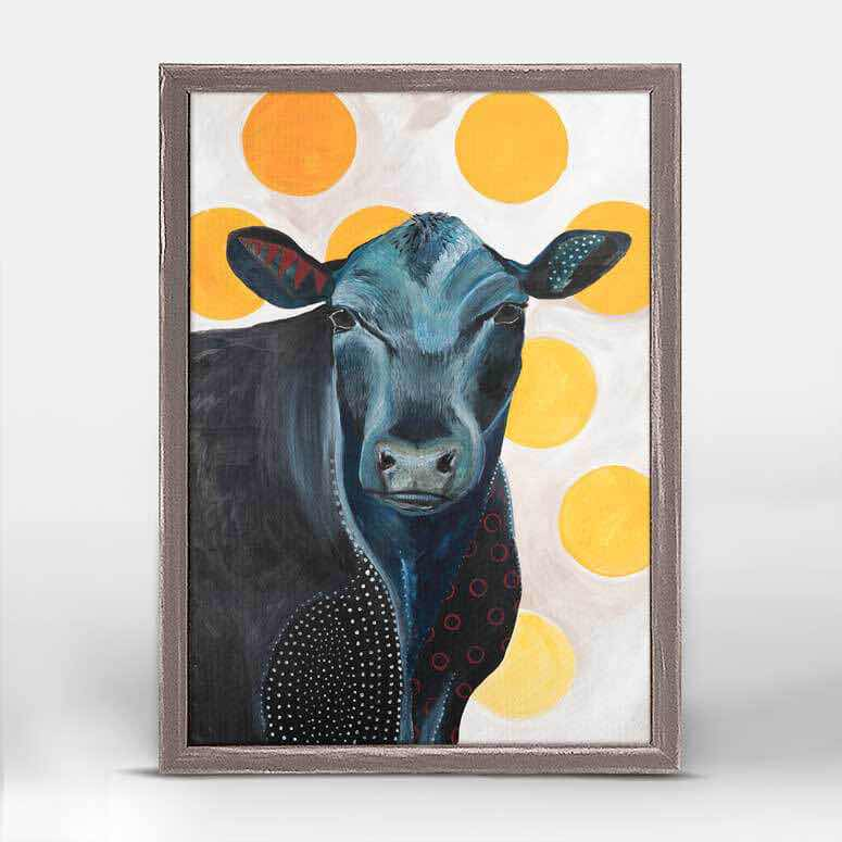 Framed Canvas | Blue Cow Yellow Dots by Emily Reid