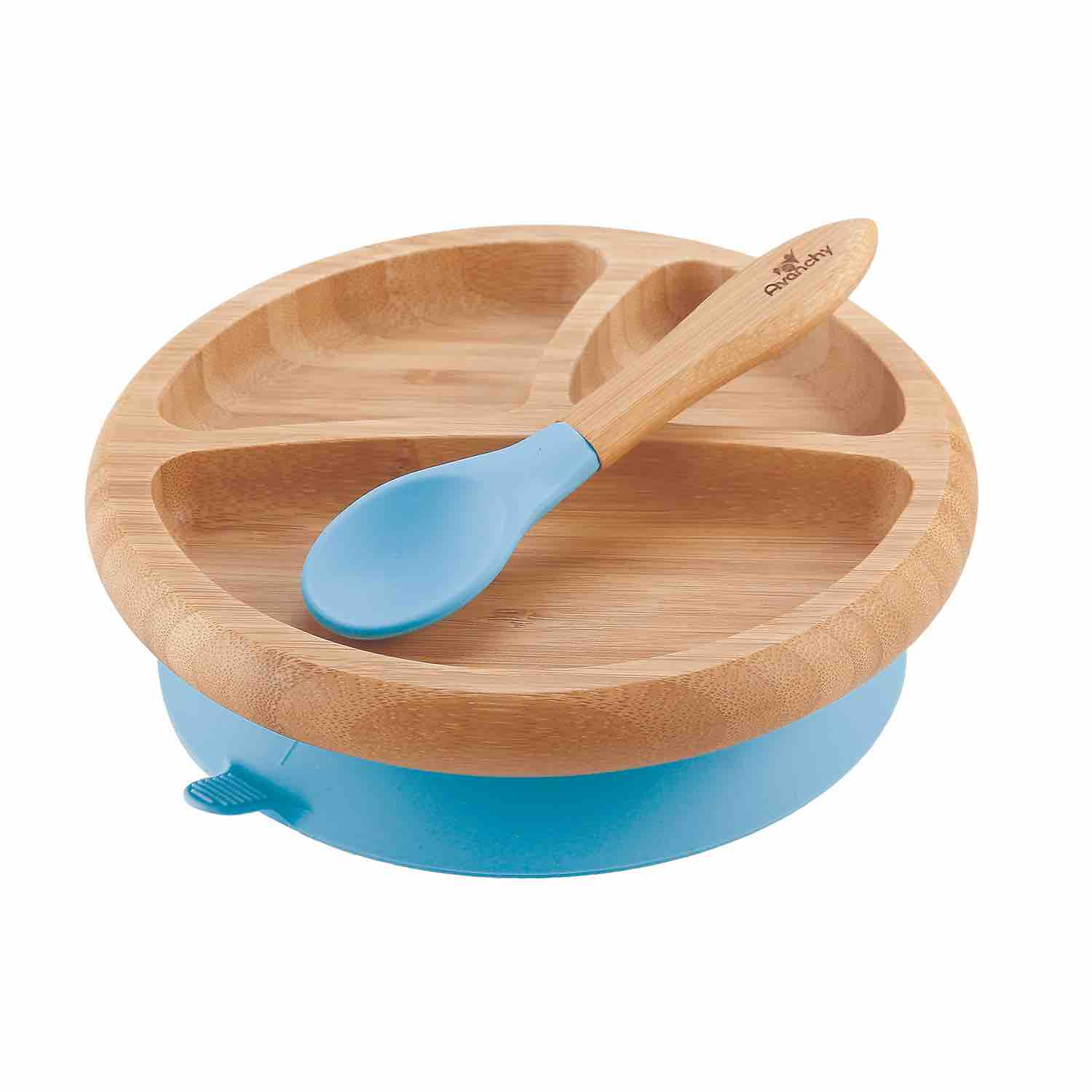 Avanchy Stay Put Baby Bamboo Suction Plate & Spoon | Blue