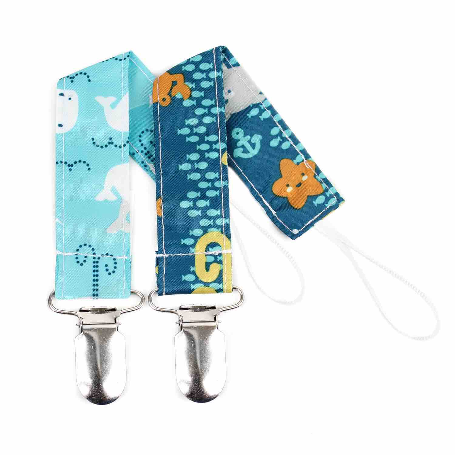 Bumkins Pacifier Clip 2 Pack | Sea Friends & Whales