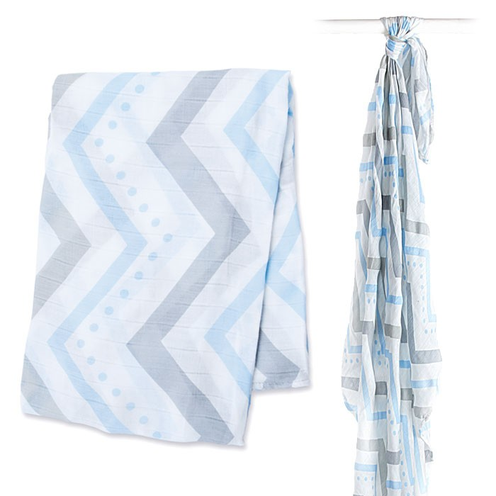Lulujo Bamboo Muslin Swaddle Wrap | Blue Chevron