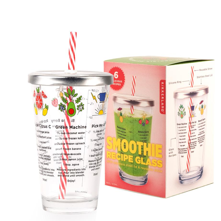 Smoothie Recipe Glass with Lid & Straw
