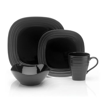 Mikasa Dinnerware Swirl Square Black 4 pc Place Setting